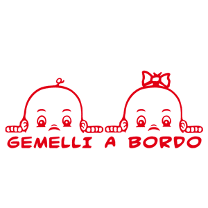 Adesivo sticker gemelli-fratelli a bordo automobile