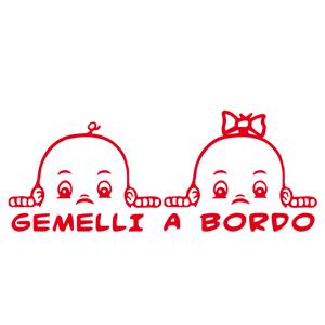 Adesivo sticker gemelli-fratelli a bordo automobile
